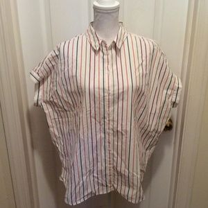 Madewell Blouse XL White Red Blue Yellow Striped